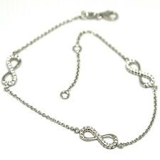 Bracelet White Gold 18k 750, Chain Rolo ' , Symbols Infinity, Zircon Cubic