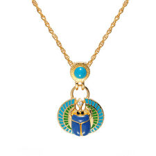 Cristalina 18k Gold Plated Turquoise and Lapis Coloured Egyptian Scarab Pendant