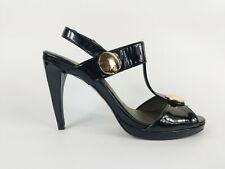 Ravel Black Patent Leather High Heel Slingback Shoes Uk 8 Eu 41 New