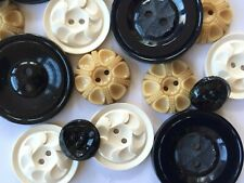 Vintage Button Packs - 16 Black, Oatmeal and White Glass & Casein Buttons b1-1