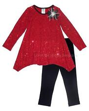 New Girls Boutique Peaches n Cream sz 4 Red Black Sequins Christmas Dress Outfit
