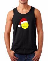 Mens Tank Top Emoticon Santa T-Shirt Christmas Xmas Tee Present Gift Funny Emoji