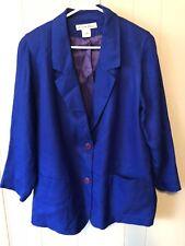 Kristen Blake Blazer Jacket Royal Blue Satin Lined Plus Size 1x Womens 2 Button