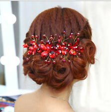 NEU Rot Blumen Perle Braut Hochzeit Haargesteckt Haarband Haarschmuck Kristall