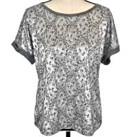 Ann Taylor LOFT  Blouse Gray Metallic Short Cap Sleeve Top Women's Size Medium