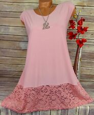 Designer Tunika Bluse Kleid Shirt Lagenlook Top Longshirt Spitze Altrosa 44 46