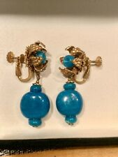 Vintage Signed Miriam Haskell Enameled Dangling Earrings Clip On