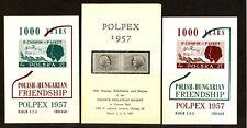 POLPEX 1957 Polish-Hungarian Friendship Souvenir sheets,  imperf. MNH (SS57)