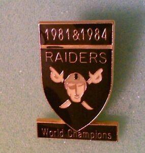 Football Pin - Los Angeles Raiders World Champions 1981 & 1984