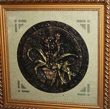 HAND MADE EMBOSSED RELIEF FLORAL COPPER WALL DECOR PLAQUE