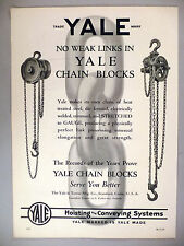Yale Chain Blocks PRINT AD - 1929 ~~ hoisting and conveying systems