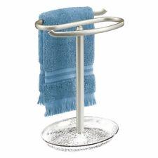 mDesign Fingertip Towel Holder/Tray for Bath Vanity Countertops - Clear/Satin
