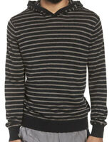 NWT Vince Men's Striped Knit Hooded Sweater Pullover Hoodie Black Size 2XL