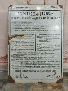 Vintage Industrial French Danger Electricity Medical Enamel Factory Sign Plaque
