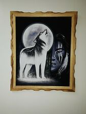 "HOWLING WOLF & WARRIOR ,  Hand Painted, VELVET PAINTING , 18"" BY 22"" W , FRAME"