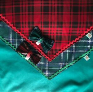 Christmas Tartan Bandanas, Bow Ties, Dogs, S-2XL, Slip on or Tie on, Bell n Boo