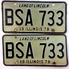 Illinois 1978 Pair Old License Plate Garage Classic Car Boy Scout Set Vtg Vanity