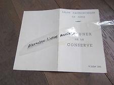 MENU RESTAURANT DEJUEUNER DE LA CONSERVE 1953 SALON GASTRONOMIQUE PARIS