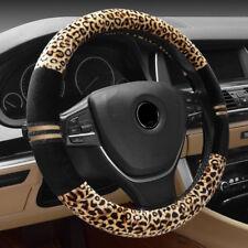 "NEW Luxury Leopard Spots Short Plush Car Steering Wheel Cover Universal 38CM 15"""