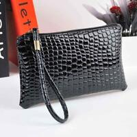 Women Crocodile Leather Clutch Handbag Bag Coin Purse BK