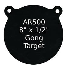 """One AR500 Steel Target Gong 1/2"""" x 8"""" Painted Black Shooting Practice Range"""