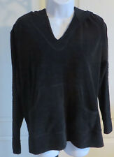 Womans Spa by Chicos terry Filigree Lace Sleeve Black Top Hoodie NWT Size 1