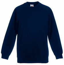 Fruit Of The Loom DEEP NAVY DARK BLUE Boys Girls Childs School Sweatshirt Jumper