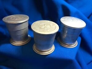 3 Collapsible Tin Cups ~ Vintage ~ Camping Hiking Scouting