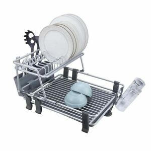 Calitek 2 Tier Aluminium Dish rack Drainer, Removable Tray and Cutlery Holder