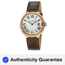 Nuevo Cartier Ballon Bleu 40mm 18kt Oro Rosa Marrón Cuero Reloj para hombres W6920083