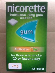 Nicorette FruitFusion 2mg Nicotine Gum - 105 Pieces - Expiry 12/22 Quit Smoking