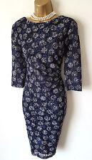 Vestido de Encaje PHASE ocho Azul Marino 10 Spot Con Textura Acanalada Stretch Wiggle
