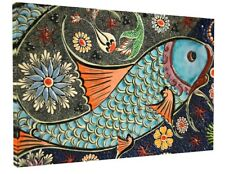 MOSAIC TIL ART FISH CANVAS PICTURE PRINT WALL ART CHUNKY FRAME LARGE 1858-2