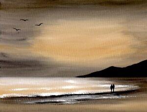 WATERCOLOUR PAINTING SEASCAPE Evening Sky, Beach, Sea, Sarah Featherstone ART