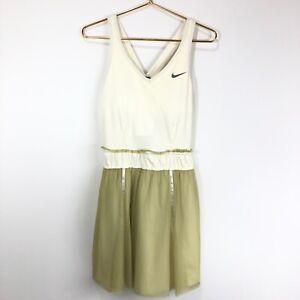 Nike Women's Maria Sharapova Custom Athlete Ivory & Chartreuse Tennis Dress