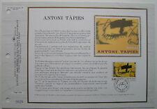 ANTONI TAPIES   Feuillet CEF Timbre 1er jour SOIE - 1992