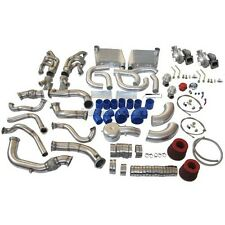 CXRacing Twin Turbo Kit For 63-65 Chevrolet Chevelle Nova SBC V8 Blue Hose