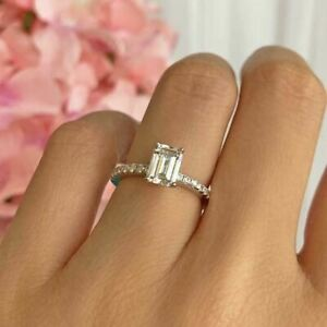 14K White Gold Over 1.25ct Emerald Cut Diamond Solitaire W/Accents Wedding Ring