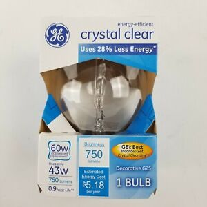 GE Crystal Clear 60w 43w Decorative G25 Bulb 60076