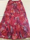 J Gee Women's Size M Pink Multicolor Boho Peasant Tiered Long Maxi Skirt