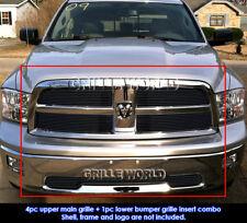 For 2009-2012 Dodge Ram 1500 Regular Model Black Billet Grill Combo Pack