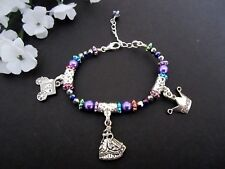 Children's Kids Disney Princess Cinderella Charm Bracelet Multi Color Purple