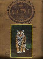 Indianer Wild Miniatur Tiger Malerei Alt Stamp Papier Wasser Farbe Malerei Dekor
