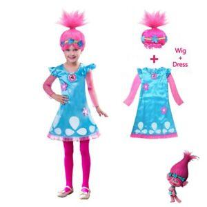 Child Trolls Poppy Troll Fancy Dress Costume & Wig Kids Girls Outfit Age 10-12