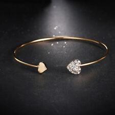 14k Gold Plated 2 Heart Open Cuff Bangle Bracelet made w Swarovski Crystal Stone