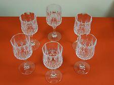 6 CRISTAL D'ARQUES LONGCHAMP WINE GLASSES (24 AVAIL)STEM FRANCE ARC DURAND CRIS