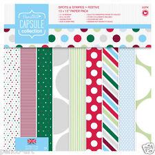 "32 Papermania 12x12"" 160gsm capsule paper Christmas festive spots & stripes"