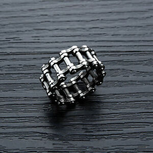 UK Mens Fashion Stainless Steel Biker Chain Band Ring Hip Hop Jewelry Gifts