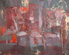 ANTIQUE ABSTRACT AVANT GARDE OIL PAINTING CITYSCAPE