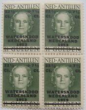 Ned. Antillen 1953 - Blok van 4 Watersnood Nederland postfris (gevlekte balk)